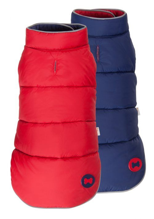 Red Navy Reversible Bone Puffer dog coat by Fab Dog