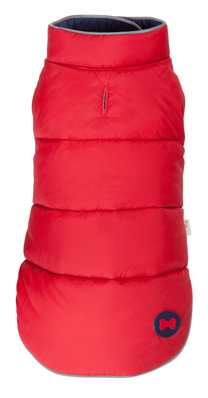 Red Navy Reversible Bone Puffer dog coat by Fab Dog