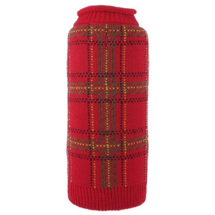 Dog-Sweater-Tartan Red
