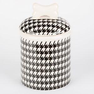 creature comfort houndstooth-dog treat jar