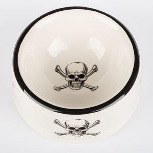 creature comfort skull-crossbone dog bowl