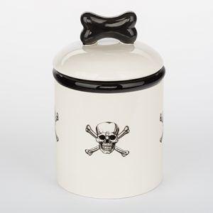 creature comfort skull-crossbone-dog treat jar