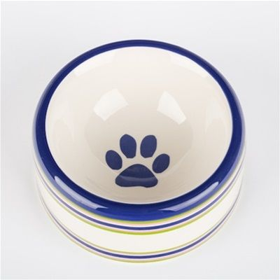 creature comfort stripe-dog bowl