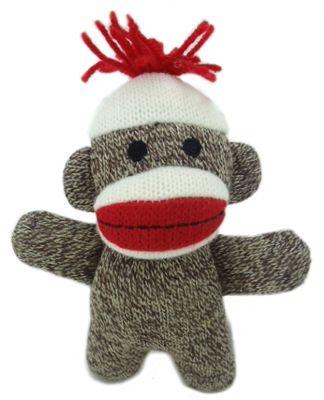 Baby Sock Monkey Kiki dog toy