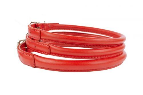 rolled leather dog collars red