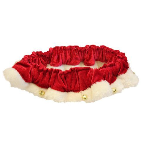 scrunchy santa ruffle dog neckwear with bells