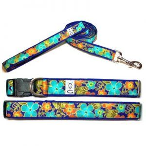 shalimar_flowers fabric dog collar Cutie Collars