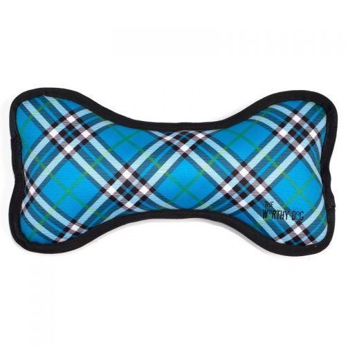 blue plaid bone dog toy with squeakers by worthy dog