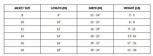 Size chart for Worthy Dog Softshell Tan Plaid Jacket
