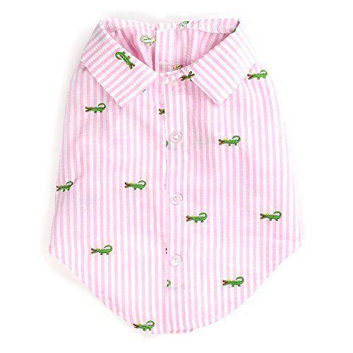 Dog Shirt Pink Stripe Alligator by Worthy Dog