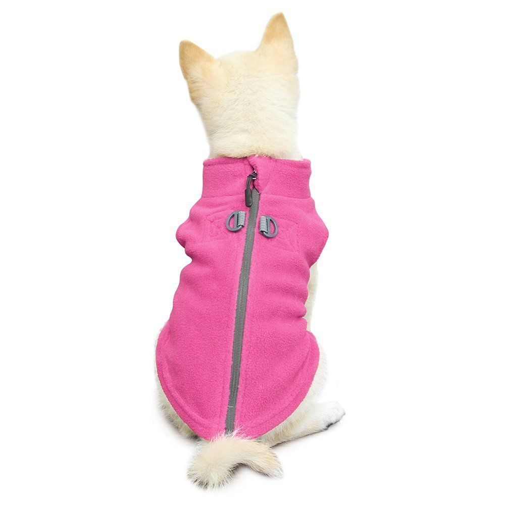 Gooby-Zip-Up-Fleece-Dog-Vest-Pink