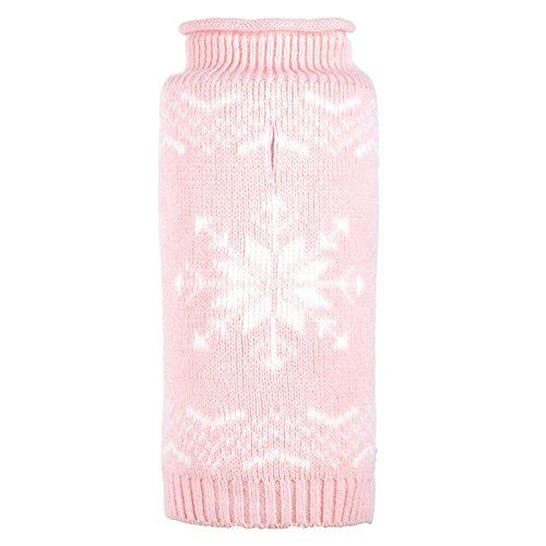 Worthy Dog Icy Pink Snowflake Roll Neck Dog Sweater