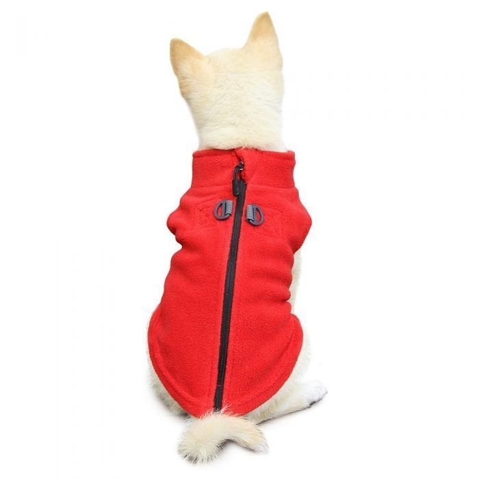 Gooby Zip Up Fleece Dog Vest Red