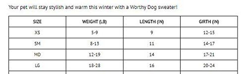 Woodlands Reindeer Roll Neck Sweater by Worthy Dog Size Chart